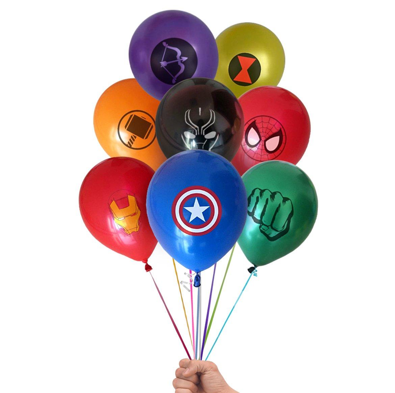 Marvel Avengers Superhero Emblem 24 Count Party Balloon Pack - Large 12'' Latex Balloons