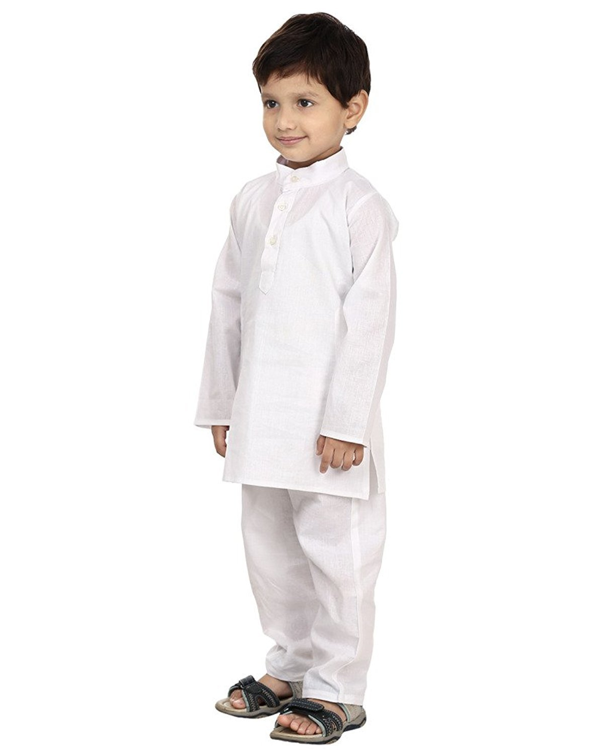 FOCIL Festival Season Special White Cotton Kurta & Pyjama Pant Set for Kids by FOCIL (Image #2)