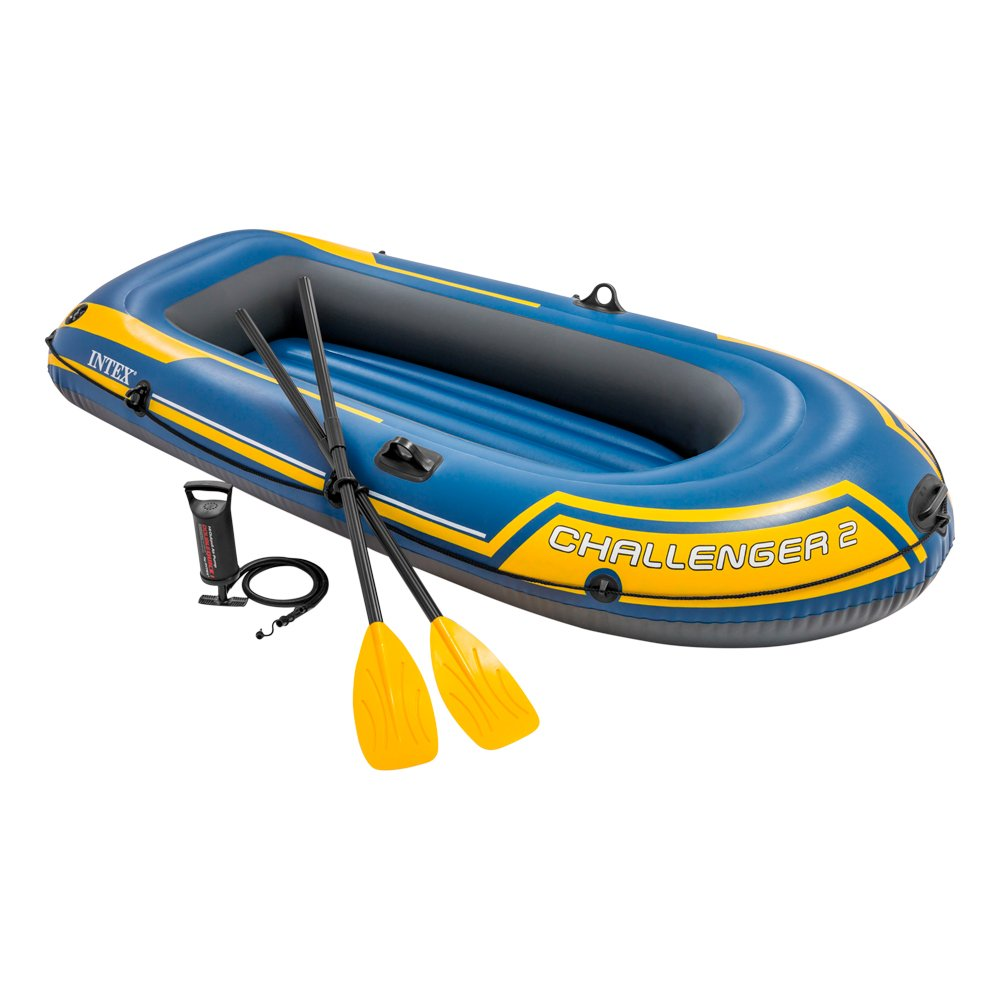 Intex Challenger 2, 2-Person Inflatable Boat Set with French Oars and High Output Air Pump (Latest Model) by Intex