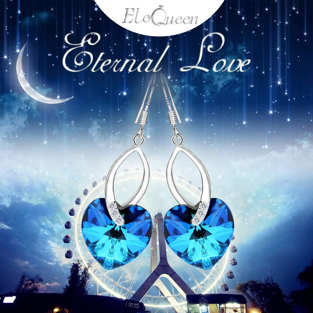 EleQueen 925 Sterling Silver CZ Love Heart French Hook Dangle Earrings Bermuda Blue Made with Swarovski Crystals by EleQueen (Image #6)