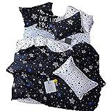 BeddingWish Duvet Cover Set Zipper Closure,The White Stars Printed,Ultra Soft Cozy Hypoallergenic (Including 1 Duvet Cover 2 Pillow Shams,Twin, 3pcs)