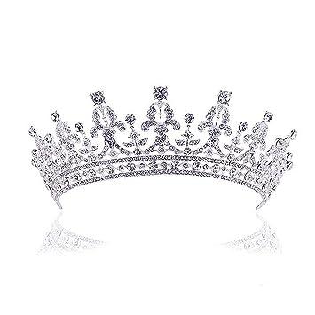 Rosenice Diadem Hochzeit Krone Tiara Braut Strass Haarreifen Silber
