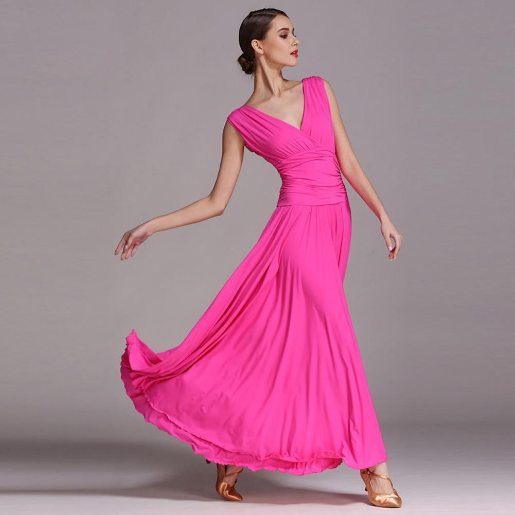 Wanson Moderne Tanzkleider Für Für Für Frauen V Kragen Ärmellos Performance Standardtanz-Kostüm Große Schaukel B07878YNWR Bekleidung Neue Sorten werden eingeführt b8cc9c