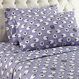 Thermee Micro Flannel Sheet Set, Queen, Counting Sheep/Lavendar