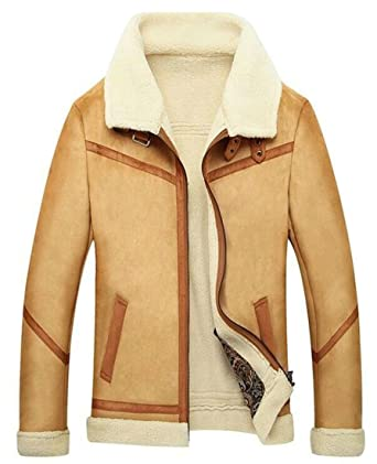 464f8995e5a9 ouxiuli Mens Warm Lamb Wool Lined Zip Front Faux Suede Jacket Coat Camel XS