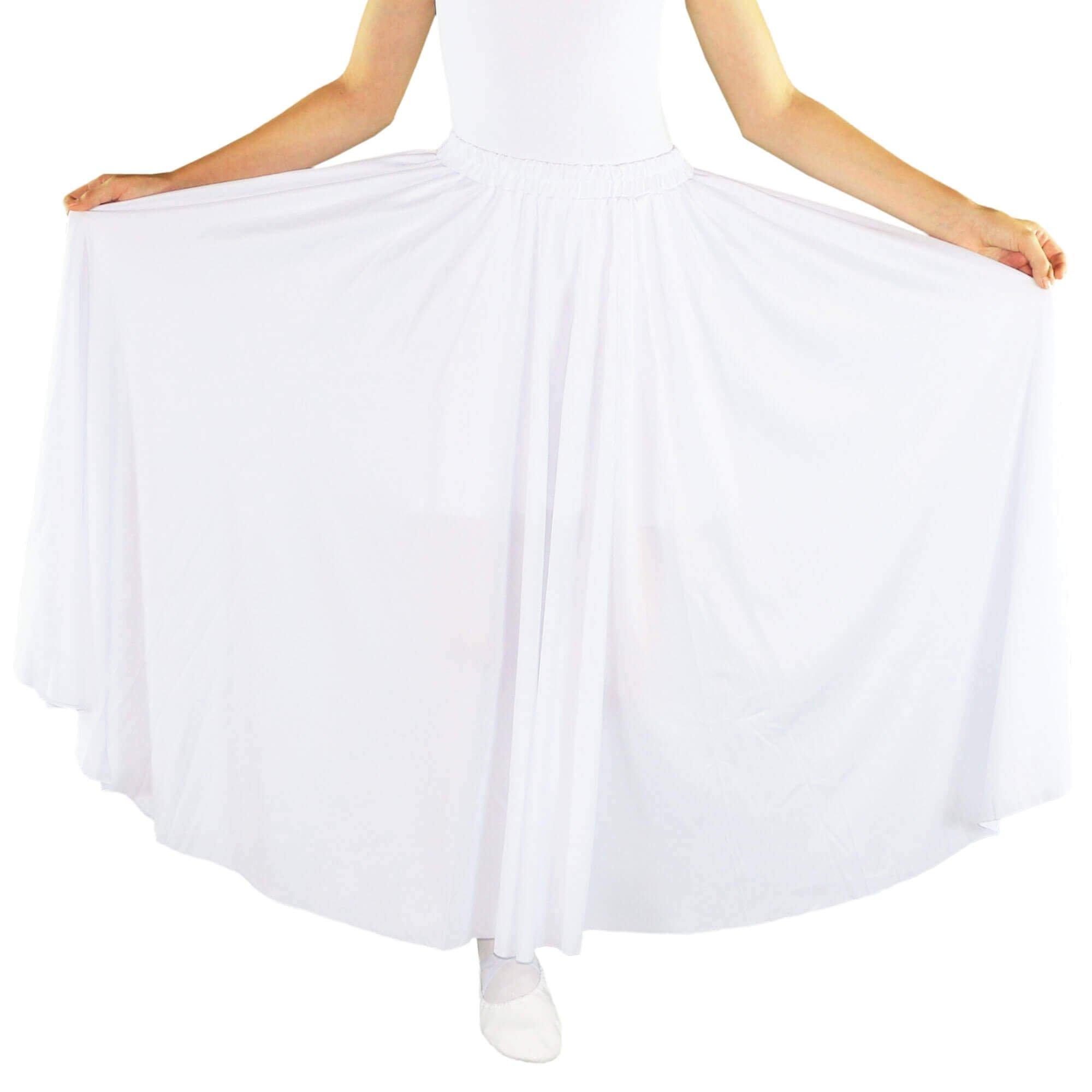 Danzcue Girls Long Full Circle Dance Skirt, White, L-XL by Danzcue