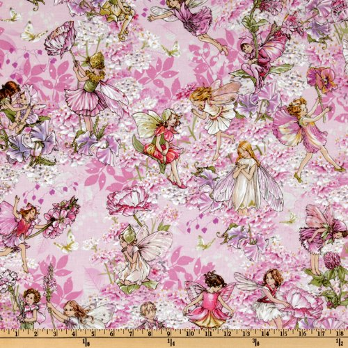 Michael Miller Pink Petal Flower Allover Fairies Fabric by The Yard ()