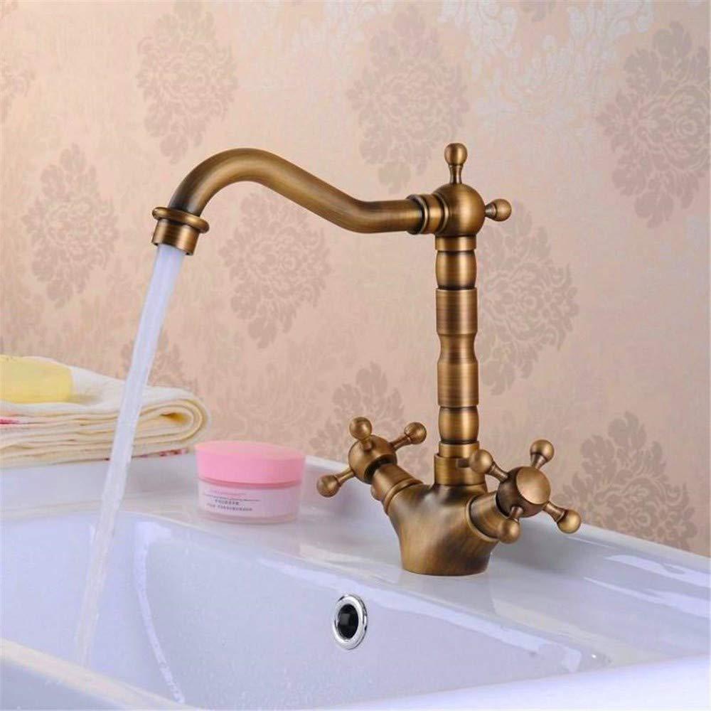 Decorry Antique Messing Waschbecken Wasserhahn 360 Grad-Schwenker-Tülle-Doppelkreuzgriff Bad-Küchenarmatur Waschtischarmaturen