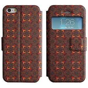 LEOCASE flores rojas Funda Carcasa Cuero Tapa Case Para Apple iPhone 5 / 5S No.1002967
