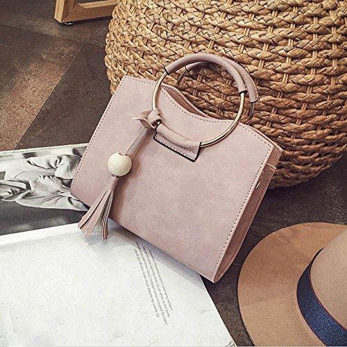 Espeedy Moda Mujeres Círculo Anillo Tote Bolsos PU Cuero borla hombro Messenger Bag rosa