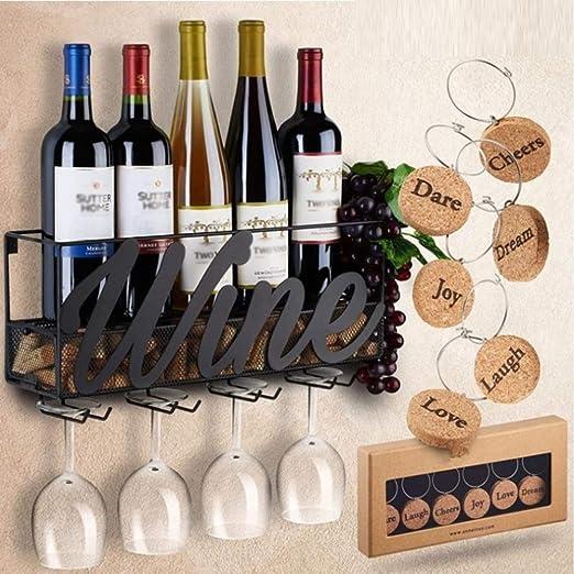 Color : Bronce Tenedor Colgante De La Copa De Vino Botelleros Estante del Vino del Hierro Labrado del Hogar Compartimiento De Almacenamiento Montado En La Pared