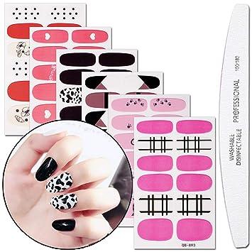 Amazon com: WOKOTO 6 Pieces Adhesive Nail Art Polish Sticker