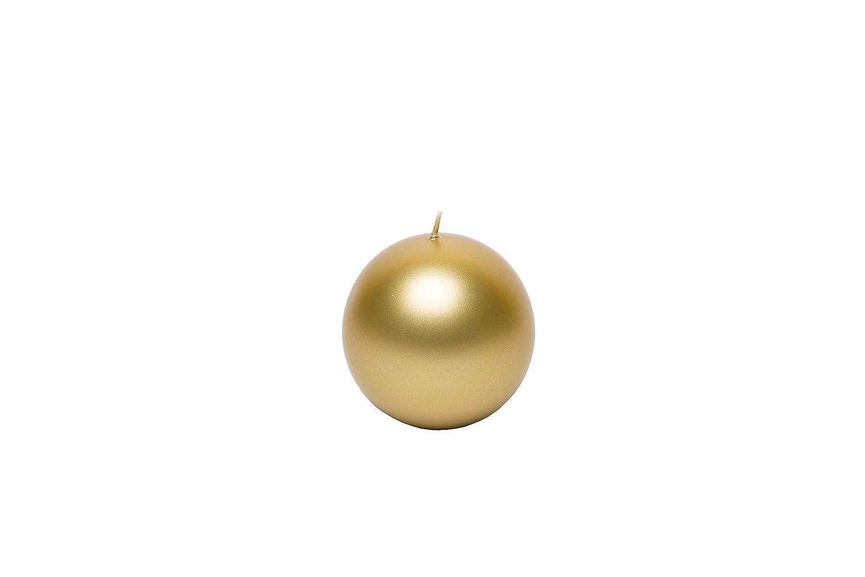 GIRM® P36.271.55 Candele natalizie rotonde candela sfera oro diametro 8 cm 1pz, candele natale oro per tavolo, regalo natalizio, candele di natale decorative dorate centrotavola candele natale piccole Partenope