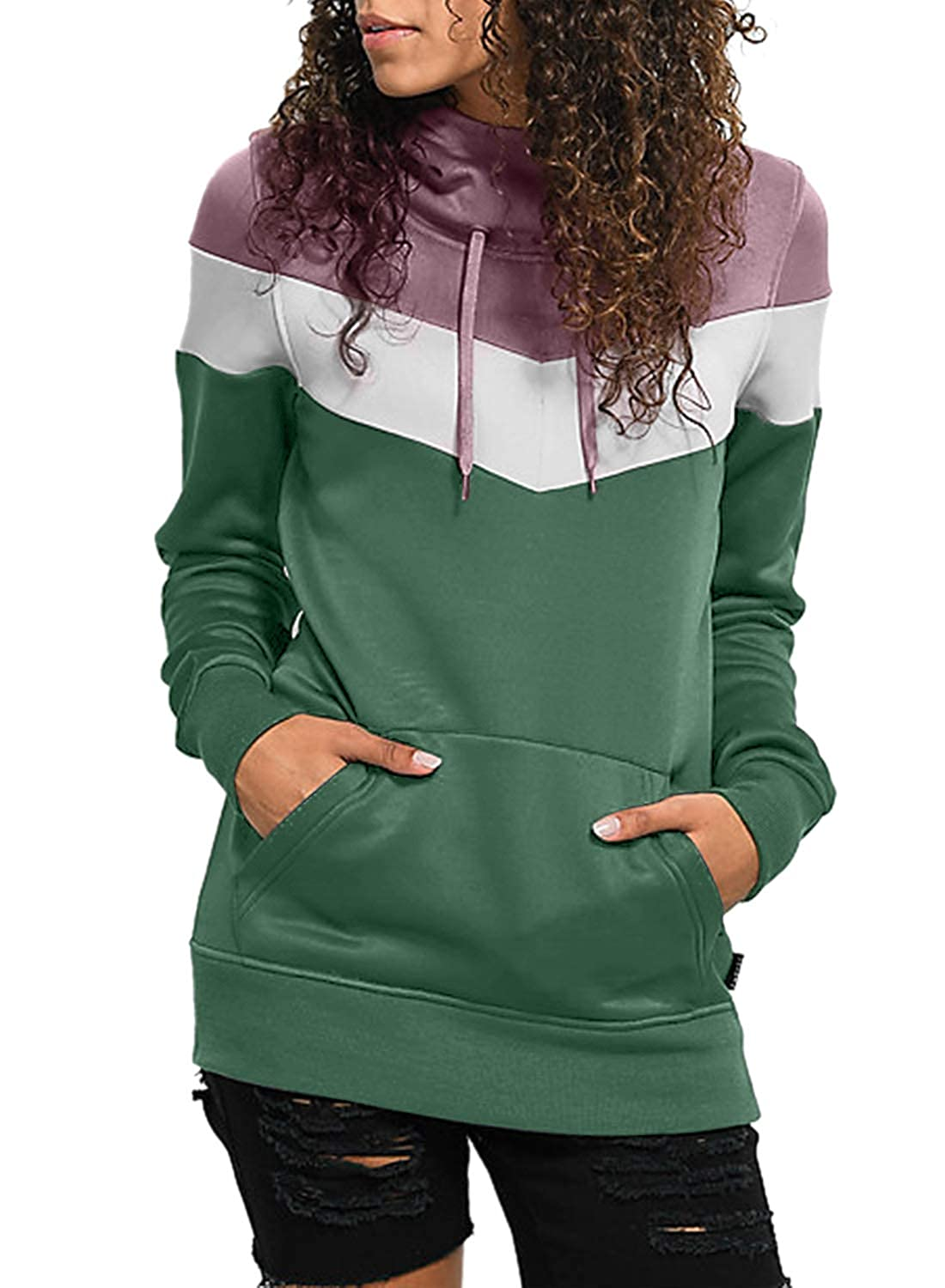 a2b23dab8 Splice 3 Color Block Lightweight Winter Fall Soft Hooded Sweatshirt Tops  Long Sleeve Fleece Pullover Hoodie Sweatshirts Drawstring Pullover  Sweatshirt with ...