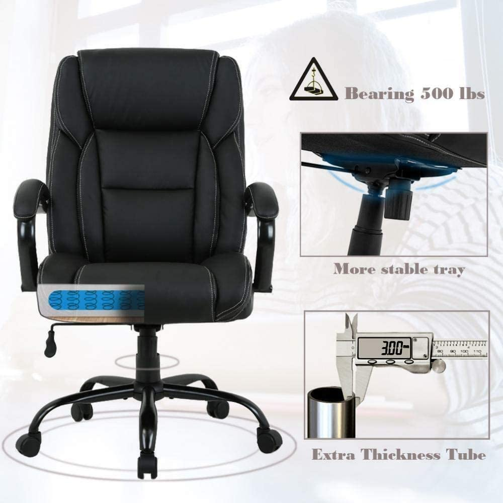 Big & Tall Heavy Duty Executive Chair 33 Lbs Heavyweight Rated Black PU  Leather Task Rolling Swivel Ergonomic Executive Office Chair with Lumbar