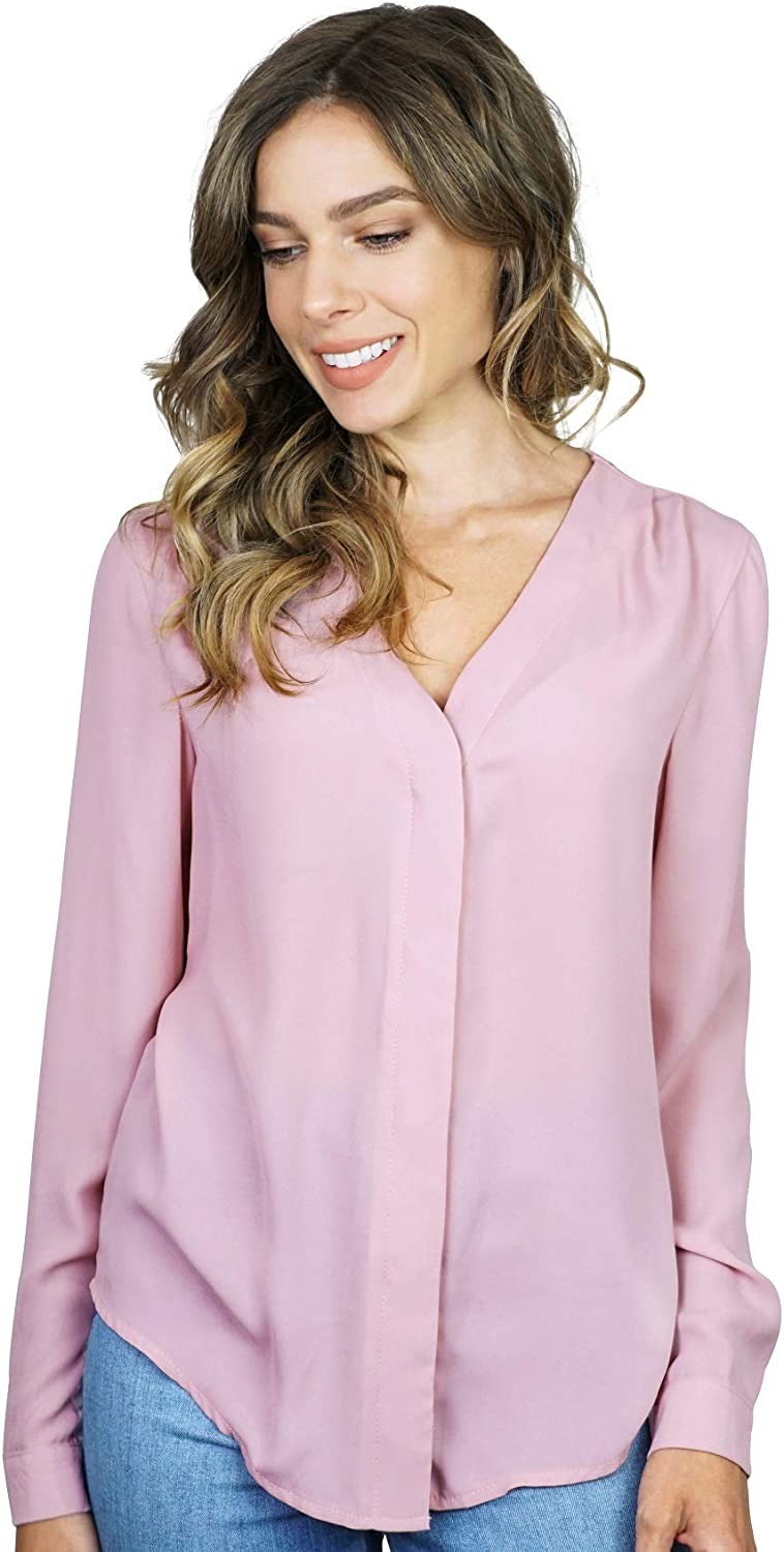 roswear Women's Chiffon Wrap Front Solid V Neck Blouse Shirt