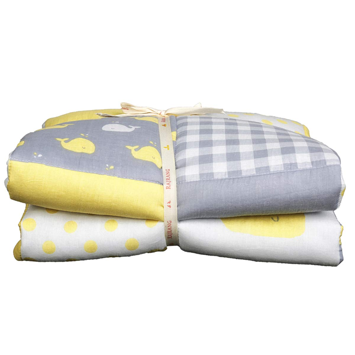 Yellow and Grey Baby Blanket Whale Print Toddler Quilt for Newborn Kids Cotton Soft Crib Comforter