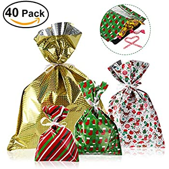 NICEXMAS Christmas Gift Bags in 4 Sizes and 4 Designs, with Ribbon Ties- Pack of 40