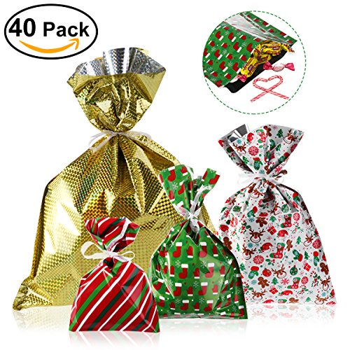 NICEXMAS Christmas Gift Bags in 4 Sizes and 4 Designs, with Ribbon Ties- Pack of 40 (Christmas Gift Bundles)