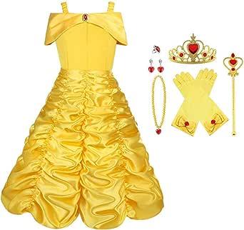 Vicloon Disfraz de Princesa Belle Vestido y Accesorios para Niñas, Corona Anillo Sceptre Collar Pendientes Guantes, para Fiesta