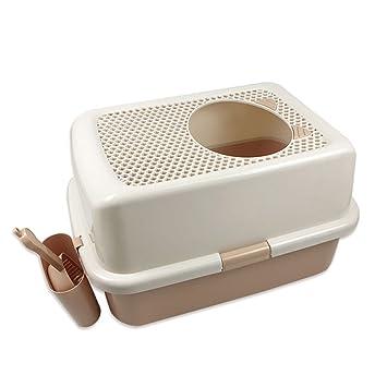 HTZ Caja de arena para gatos Semi-cerrada Large Cat Toilet Desodorización de la parte superior ...