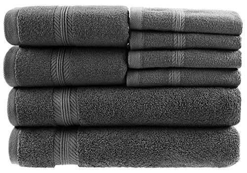 00% Ring Spun Genuine Cotton, Absorbency & Softness, Hotel & Spa Quality for Kitchen and Decorative Bathroom, 2 Bath Towels, 2 Hand Towels and 4 Washcloths, Dark Grey ()