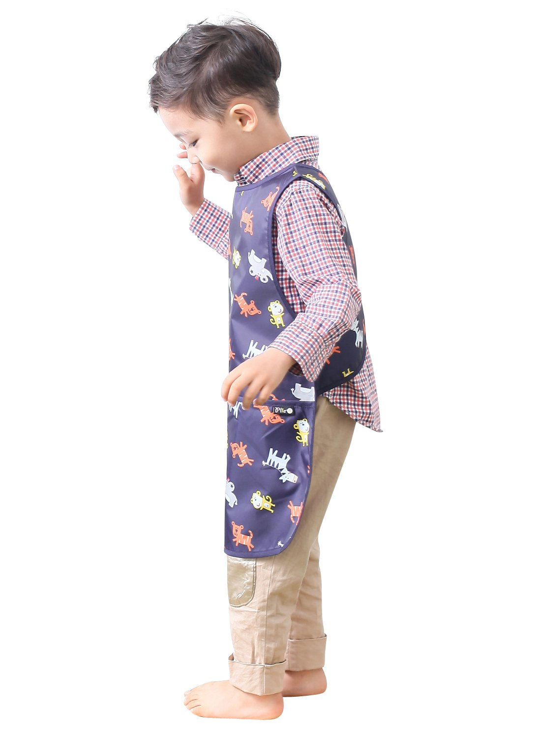 PLIE Kids Art Smock Sleeveless 37colors Age 1~8 Years S~XLsize Blue Star Children Waterproof Painting Aprons 37colors 11-L