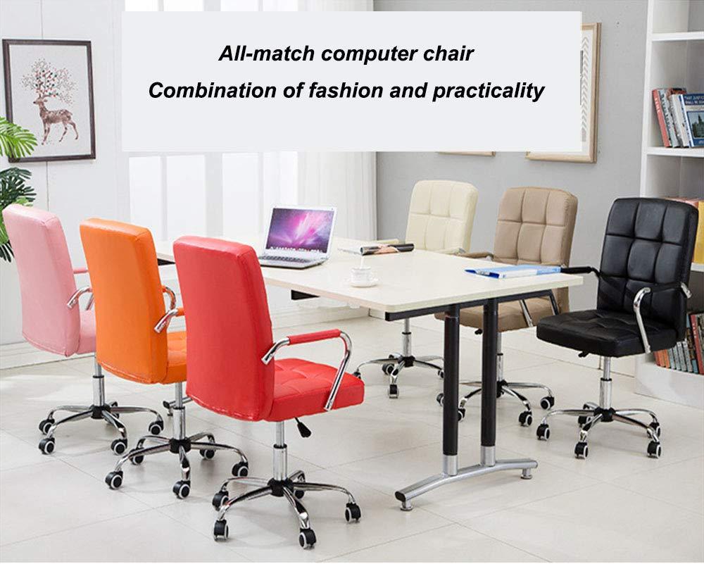 XJIANQI enkel justerbar kontorsstol, roterbar PU läder kontorsstol, lyftande roterande stol, för hemmakontor studier, orange Khaki