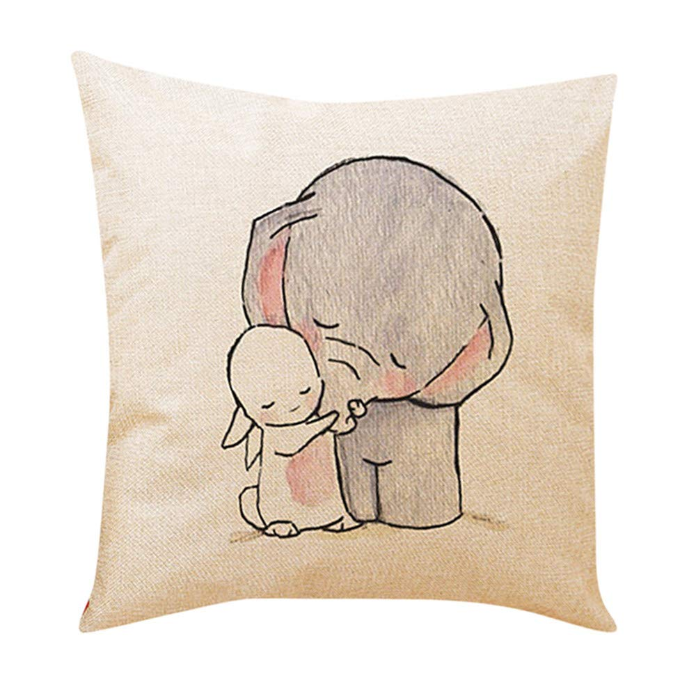 Iuhan Throw Pillow Case Cushion Cover, Cute Little Elephant Decorative Pillows Sofa Cushion Linen Car Seat Pillow Cover 18 x 18 45cm x 45cm (A) Iuhan ®