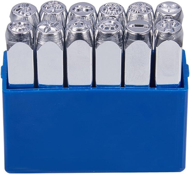 UNICRAFTALE 1PC Hierro Patr/ón de Flor cuboide Sello de Metal Perforado Platino Estuche de Estampado Etiqueta de Acero del Metal Kits de Estampado 64,5x10x10mm