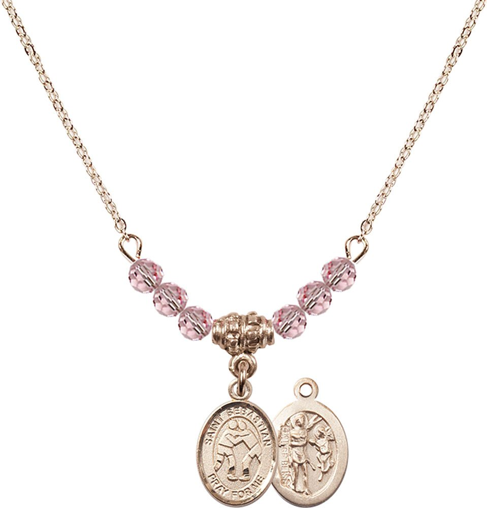 18-Inch Hamilton Gold Plated Necklace with 4mm Light Rose Birthstone Beads and Gold Filled Saint Sebastian/Wrestling Charm.