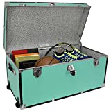 31'' Storage Footlocker Storage Trunk with Wheels Storage in Blue