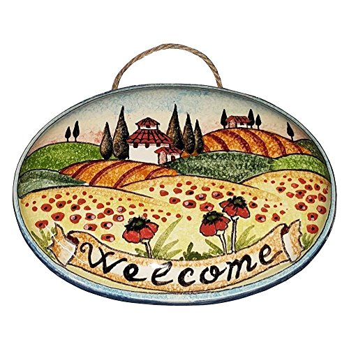 - CERAMICHE D'ARTE PARRINI - Italian Ceramic Art Pottery Tile Welcome House Plaques Decorative Poppies Landscape Hand Painted Made in ITALY Tuscan