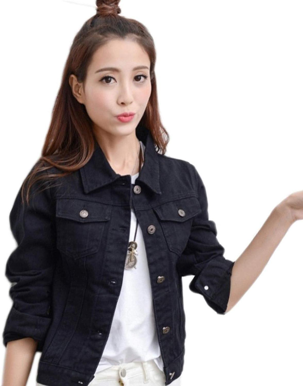 ssjjsacv Womens Womens Hooded Fashion Loose Version Tearing Full Zipper Long-Sleeved Denim Jacket