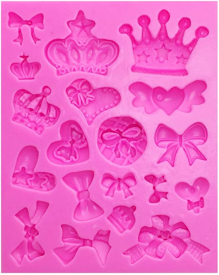 Woais Fondant Jelly Cupcake Moulds Chocolate Bow Tie Cake Mold Cake Decor Kitchen Supplies Cake Tools(Pink)