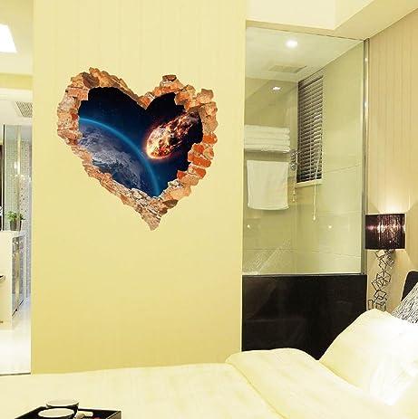 Amazon.com: BIBITIME Heart Shaped Design Break Through Wall Sticker ...