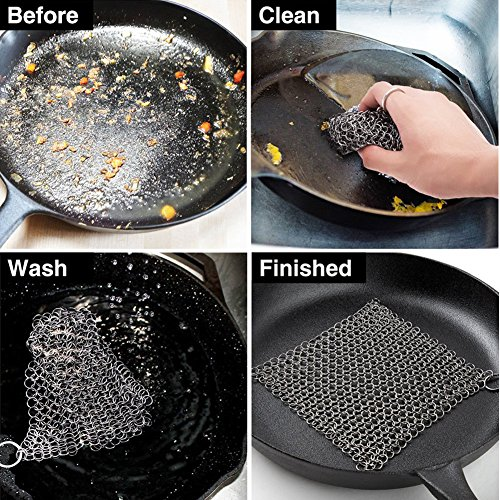 Cast Iron Cleaner Stainless Steel 8x6 Large Chainmail Scrubber for Lodge Cast Iron Skillet, Dutch Oven, Griddle, Grill Pan, Cookware & Pot. Tired of Dirty Sponges? Try Eco-Friendly Cast Iron Scraper! by EcoComely (Image #1)