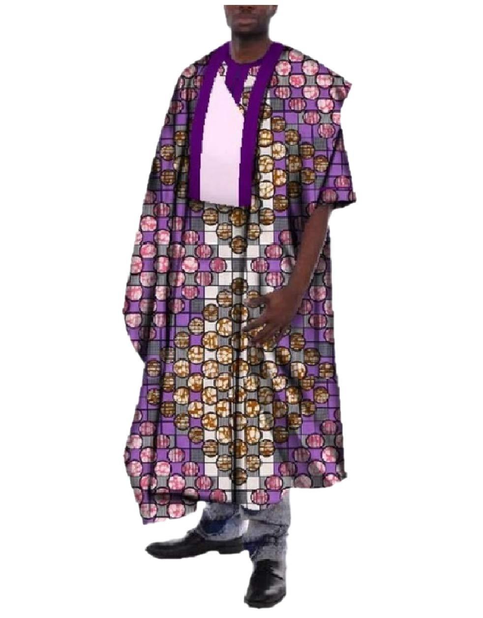 Abetteric Men Short-Sleeve African Printed Oversized Dashiki Premium Robe Light Purple S
