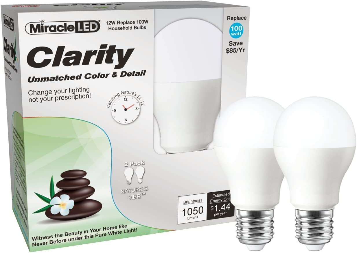 Miracle LED Nature's Vibe Clarity High Definition High Visibility LED Light Bulb (606905), 2-Pack