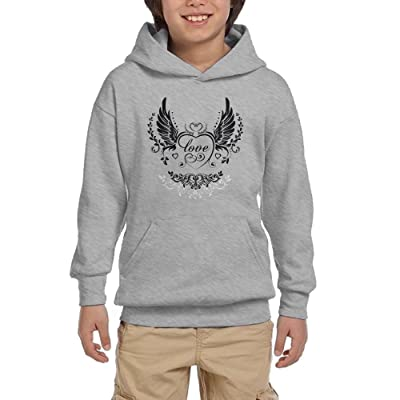 Angel Wings Heart Keyhole Youth Pullover Hoodies Hip Hop Pockets Sweatsuit