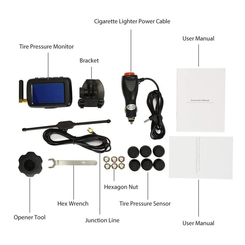 CAREUD-Monitor de Presi/ón de Neum/áticos TPMS Vigilar en Tiempo Real Recargable USB TP620