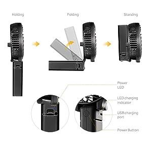 EasyAcc 携帯扇風機 USBミニ扇風機 リチウムイオン2600mAh