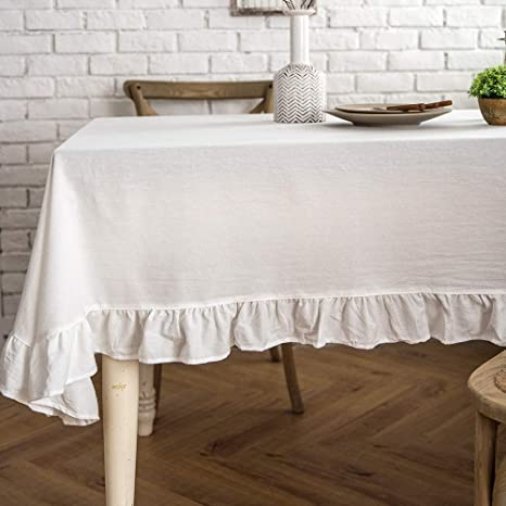 Amazon Com Lahome Rustic Flounces Tablecloth Cotton Linen Washable Vintage Ruffle Trim Table Cover For Boho Wedding Banquet Tabletop Bridal Baby Shower Birthday Party Decor White Rectangle 52 X 70 Kitchen