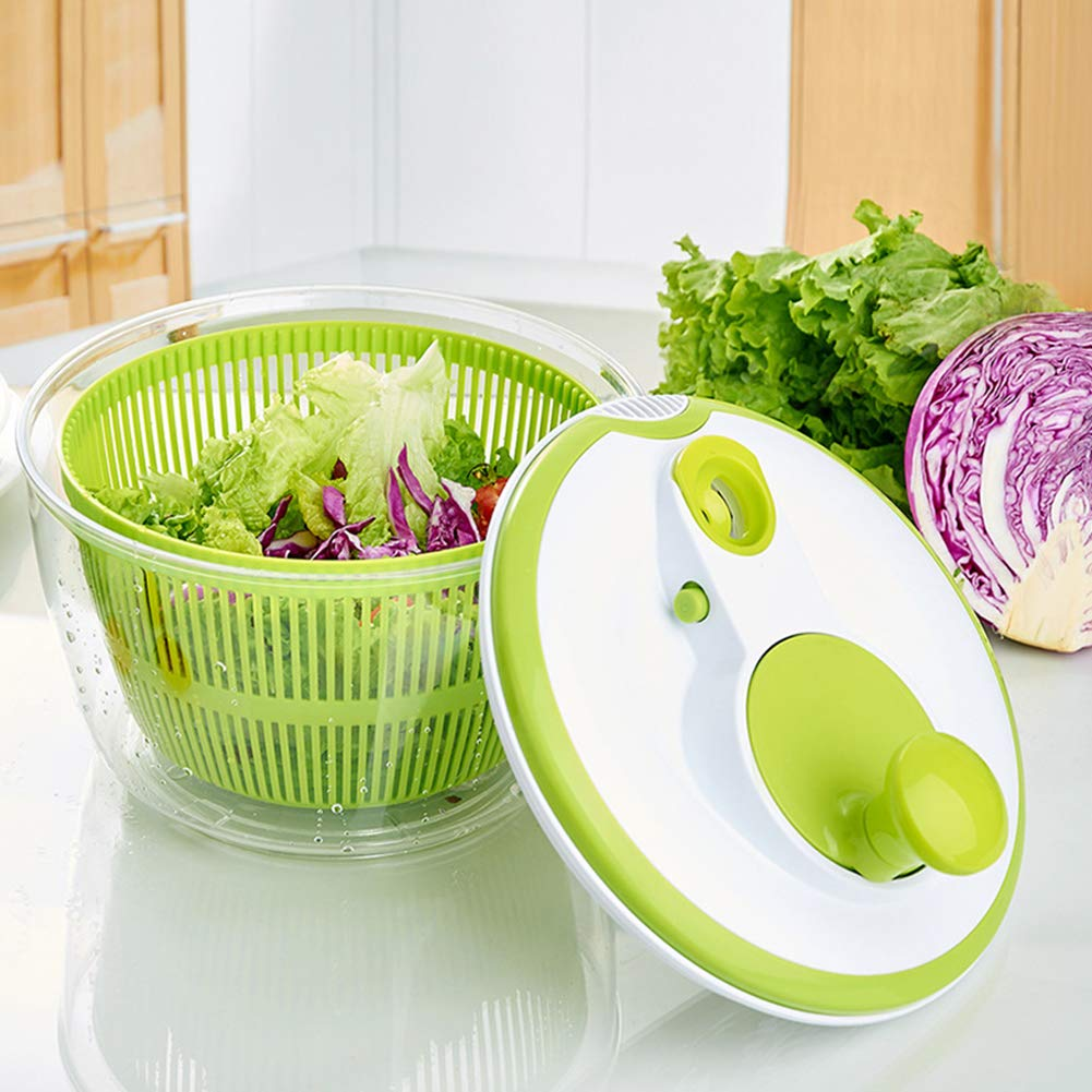 BeesClover Spin Dehydrator Drain Basket for Kitchen Vegetables Fruit Washing Gadget Green by BeesClover