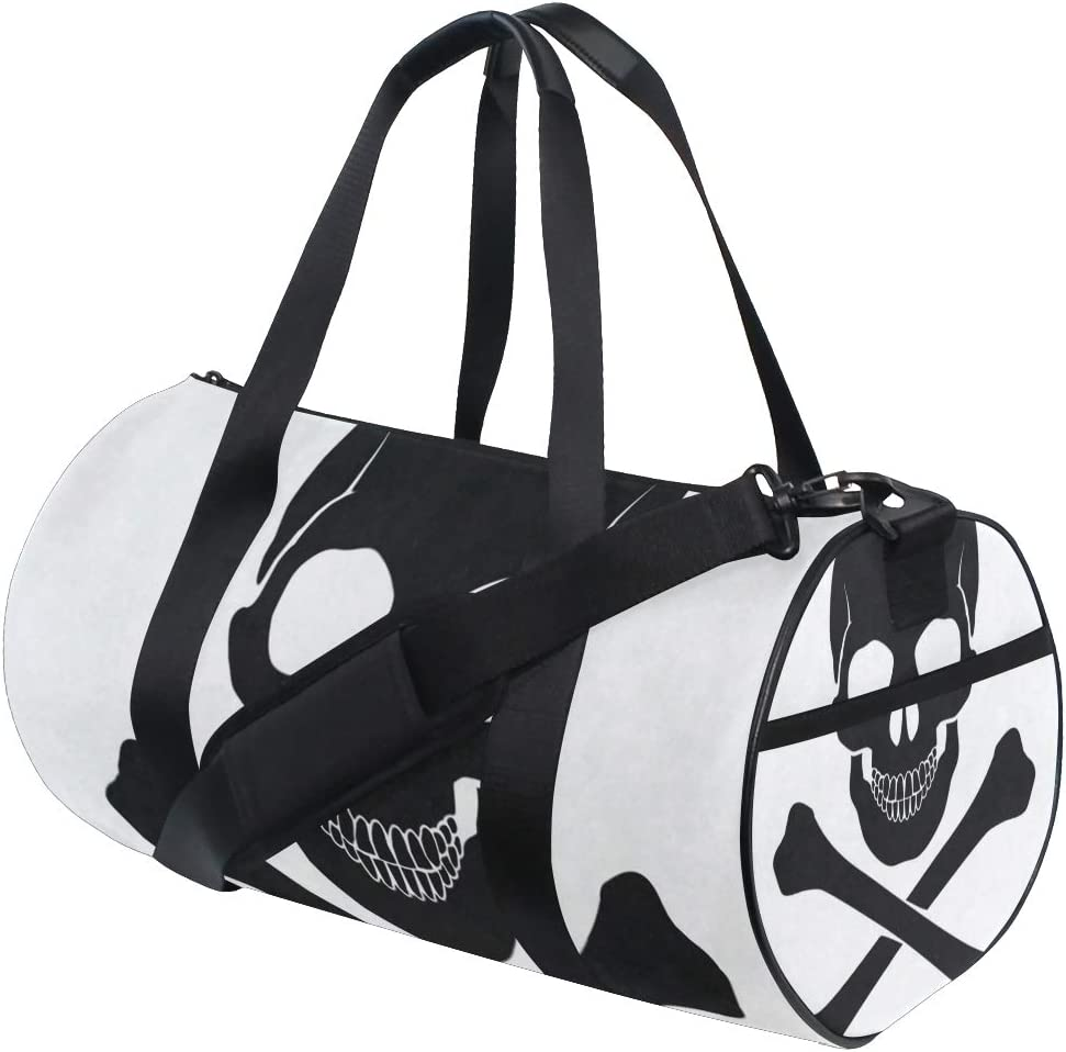 Gym Bag Skull Crossbones Icon Women Canvas Duffel Bag Cute Sports Bag for Girls