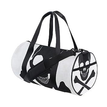 cd1c1b54c73f Amazon.com | Gym Bag Skull Crossbones Icon Women Canvas Duffel Bag ...