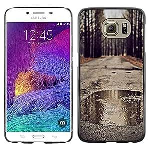 [Neutron-Star] Snap-on Series Teléfono Carcasa Funda Case Caso para Samsung Galaxy S6 [Naturaleza Ruta Romántica caída del otoño Lluvia]