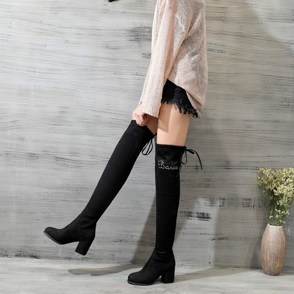 Schuhe House Damenmode High Stiefel Stiefel Stiefel Erwachsene Knie Dehnung Kurve Flache Boden Stiefel Elastische Low Stiefel Winter Damen Dress Party Schwarze Größe 2,5-6,5 4a3489