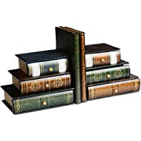 Fasmov Books Wood Bookends with Desktop Organizer Drawer Units, Set of 2