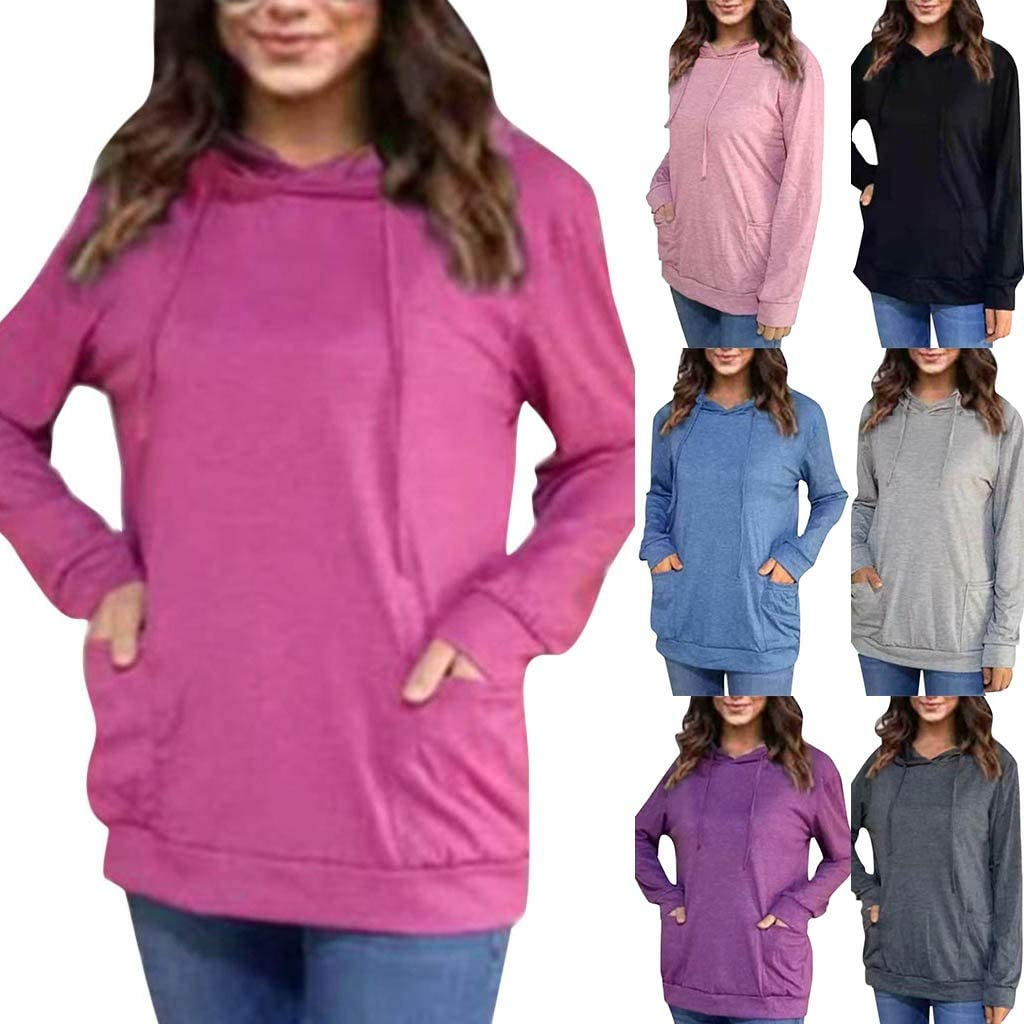 Comcialist Women Hooded Sweatshirt Solid Pocket Long Sleeve Blouse Tops